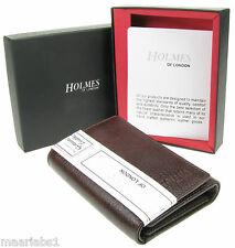 MENS BROWN REAL LEATHER TRIFOLD WALLET CREDIT CARD HOLDER GIFT BOX UK NEW BR210