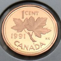 1991 Proof Canada 1 One Cent Copper Penny Canadian Uncirculated Coin G333