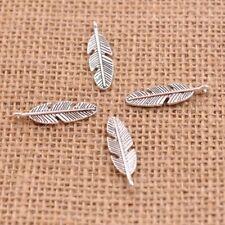 20Pcs Tibetan Silver Long Feather Leaf Shape Charms Pendants 28X8MM E3011