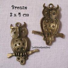 408 / LOT de 2 CHARM / BRELOQUE - CHOUETTE HIBOU BRANCHE Bronze - 3 x 4 cm