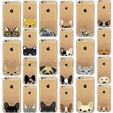 Pet Dog Cat Pattern Thin Clear TPU Case Cover For iPhone 4 4S 5S SE 5C 6 6S Plus