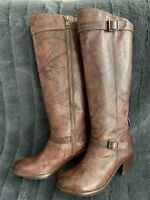 Auth. Frye Carmen Inside Zip Antique Brown Leather Boots, 8.5