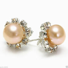 8-9mm Natural Pink Freshwater Cultured Pearl Sunflower Stud Earrings Gift Box A1