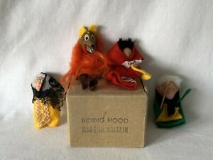 Set of 1950's RED RIDING HOOD Finger Puppets in Original Box Made in England