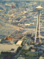 AIR VIEW SPACE NEEDLE BEAUTIFUL VINTAGE POST CARD SEATTLE WASHINGTON