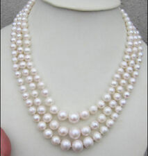 "Triple strands AAA 7-11mm natural south sea white pearl necklace 18""14K gold"