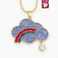 Betsey Johnson Crystal Rhinestone Rainbow Cloud Pendant Sweater Chain Necklace