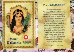 St. Saint Philomena with Prayer  - Relic PlasticStock Holy Card