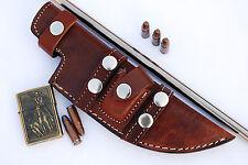 Custom Handmade Horizontal Left Hand Tracker Knife Leather Sheath Dark Brown S8
