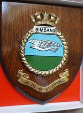 Painted HMS SIMBANG oyal Navy Crest Shield Plaque RNAS Boxed Singapore