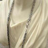3mm 35GR Boys Mens Box King Byzantine Chain Necklace 925 Sterling Silver 26Inch