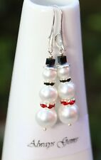 Genuine White shell pearls Snowman Christmas Earrings Nice silver plated hooks