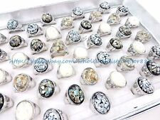 US SELLER- 15pcs cheap vintage chunky seashell wholesale ring jewelry lot