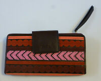 NEW FOSSIL Emma RFID Tab Clutch Wallet Red Multi Pink Brown Leather