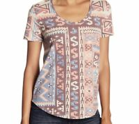 Lucky Brand Womens Scoop Neck Graphic Print Tee Large Pink Blue Shirt Top T New