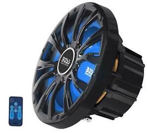 "Boss MRGB10B 10"" 800w Black Marine LED Subwoofer Boat Audio Sub w/ Remote 4-Ohm"