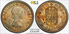 1964 GREAT BRITAIN ONE SHILLING PCGS AU58 ONLY 6 GRADED HIGHER COLOR TONED (MR)