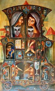 """PAINTING ORIGINAL Oil ON canvas 36""""x22"""" CONTEMPORARY ART symbolism """"BOSCH GUESTS"""