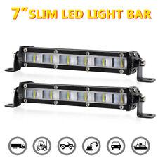 2X 7inch Ultra Slim LED Light Bar Flood Work Offroad Lamp Truck Driving 4WD SUV