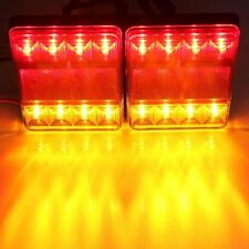 2PCS 8LED Taillights Red Yellow Rear Tail Warning Light Trailer For Trailer Car