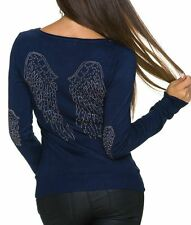 Sexy señora suéter fino punto V suéter tachuelas piedras alas top 34/36/38 azul