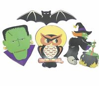 Vintage Halloween Diecuts 4 Kitschy Die Cuts 1995 Bat Witch Frankenstein Owl