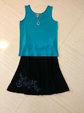 Women's Chico's 1.0 Outfit: Top; Travelers Skirt. Nwot Necklace. Euc! 1C