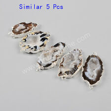 Clearance RANDOM 1 Pcs Silver Plated Natural Agate Druzy Slice Connector TS0952