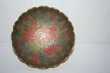 Vintage Cloisonne Brass & Enamel Bowl Peaflowl & Floral Blossoms Made India