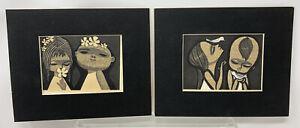 Vintage Shuzo Ikeda Children Japanese Woodblock Art Print Lot Of 2