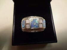 #394 VINTAGE WK-925 STERLING SILVER RING- MOTHER PEAR WITH OPALS-SIZE-8