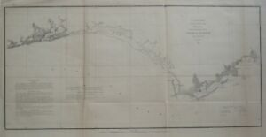 1852 US Coast Survey Lighthouse Map PENSACOLA APALACHICOLA BAY Florida St. Marks