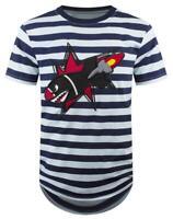 New Men Stripe T-Shirt Longline Blue White Black Sizes S-M Shark Rocket