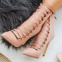 Womens Hollow Out Lace Up High Stiletto Heel Ankle Boots Pointy Toe Shoes Party