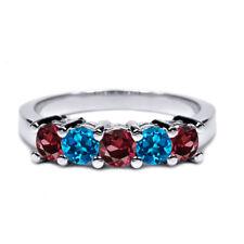 1.06 Ct Red Rhodolite Garnet London Blue Topaz 925 Silver Wedding Band Ring