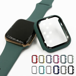 40/44mm PC Full Case Cover+Glass Film Screen Protector for Apple Watch SE 6 5 4