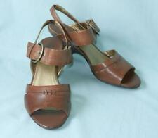 CIRCA JOAN & DAVID Nunzia Brown Leather Open Toe Wedge Heel Sandals 8 M