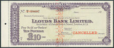More details for xt515= lloyds bank £10 specimen travellers cheque 1928 issue