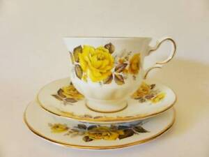 Queen Anne Yellow Rose Vintage Bone China Teacup Trio, Pattern 8616, Floral