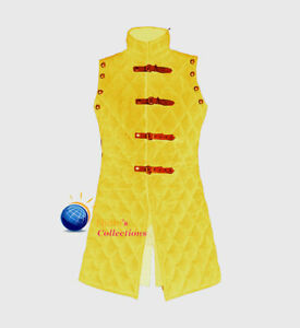 Medieval Gambeson Costume Yellow Thick Padded Sleeves Less Jacket