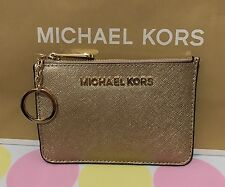 NEW MICHAEL KORS Leather SM Top Zip Coin Pouch with ID In Pale Gold $118