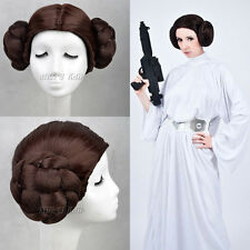 Star Wars Princess Leia Organa Wig Brown Color with two Bun Anime Cosplay Wigs