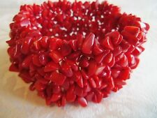 VINTAGE GORGEOUS LARGE RED CORAL STRETCH BRACELET ESTATE JEWELRY