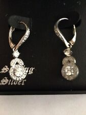 Chateau D'Argent Crystal & Sterling Silver Earrings - Lovely! - New in Box