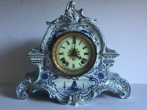 "Large Antique Royal Bonn Blue Delft Mantel Clock Ansonia Clock Company 12"""