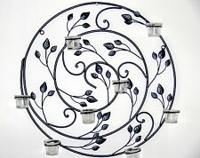 WALL ART DECOR MURAL sconces candle holder black  wrought iron NEW