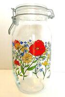 Vintage Glass Canister ARC France R Carman Jar 2 L Floral Flower MCM Hinged Lid