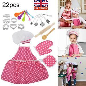 22pcs Childs Chef Apron Hat Set Childrens Kichen Cooking Baking Cooks Kids Toys