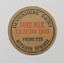 Old cardboard milk bottle top - DEVONSHIRE DAIRY, HEPBURN SPRINGS