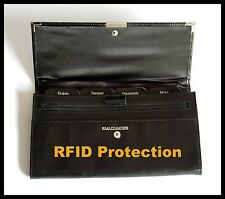 NEW RFID Blocking Black Leather Travel Wallet Folder Passport Ticket Card Holder
